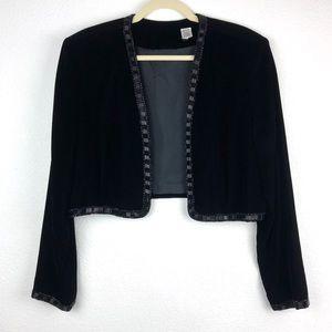 Vintage Beaded Velvet Long Sleeve Bolero Shrug